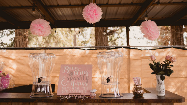 Pink and Gold Princess Baby Shower Drink Station