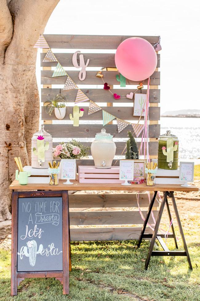 Cactus Themed First Birthday Party Beverage Table