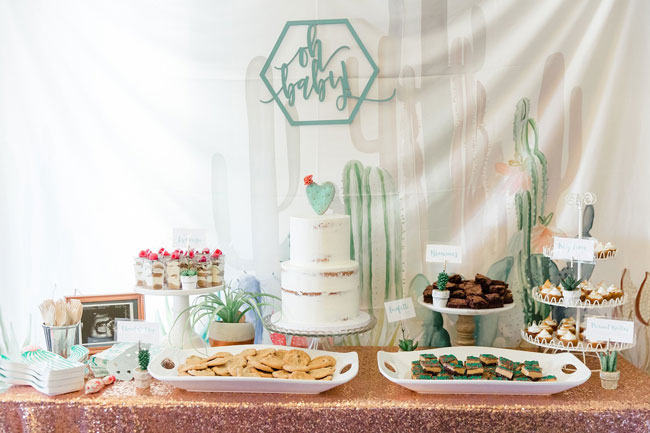 Desert Bloom Baby Shower Dessert Table