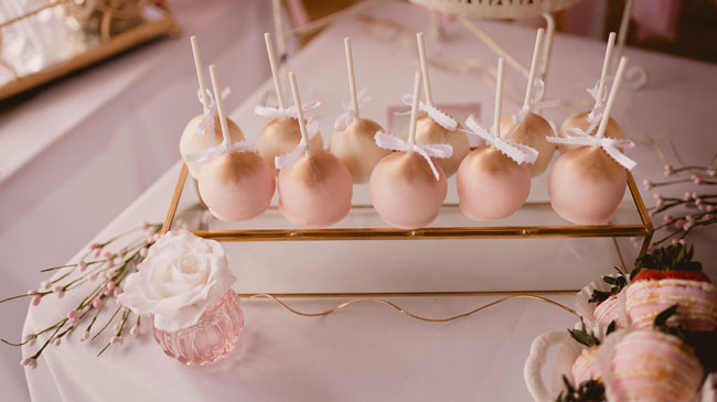 Pink and Gold Princess Baby Shower Cake Pops