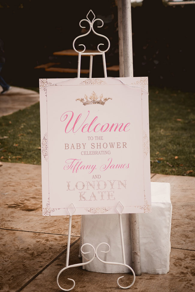 Pink and Gold Princess Baby Shower Welcome Sign