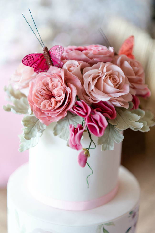 Cake Topped With Flowers and Butterflies For Tea Party Bridal Shower