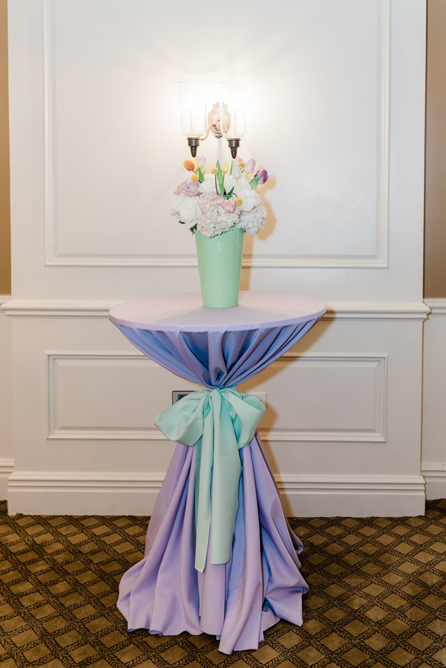 Cocktail Table With Flower Centerpiece