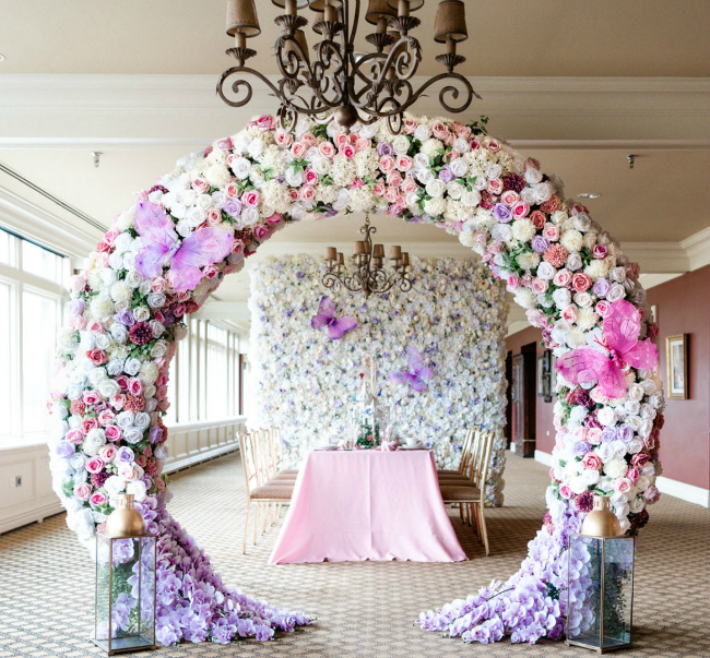 High Tea Bridal Shower Floral Arch Decor