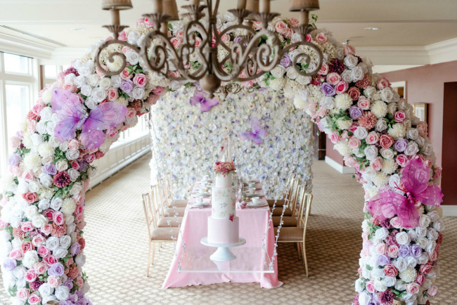 High Tea Bridal Shower Hanging Cake Design