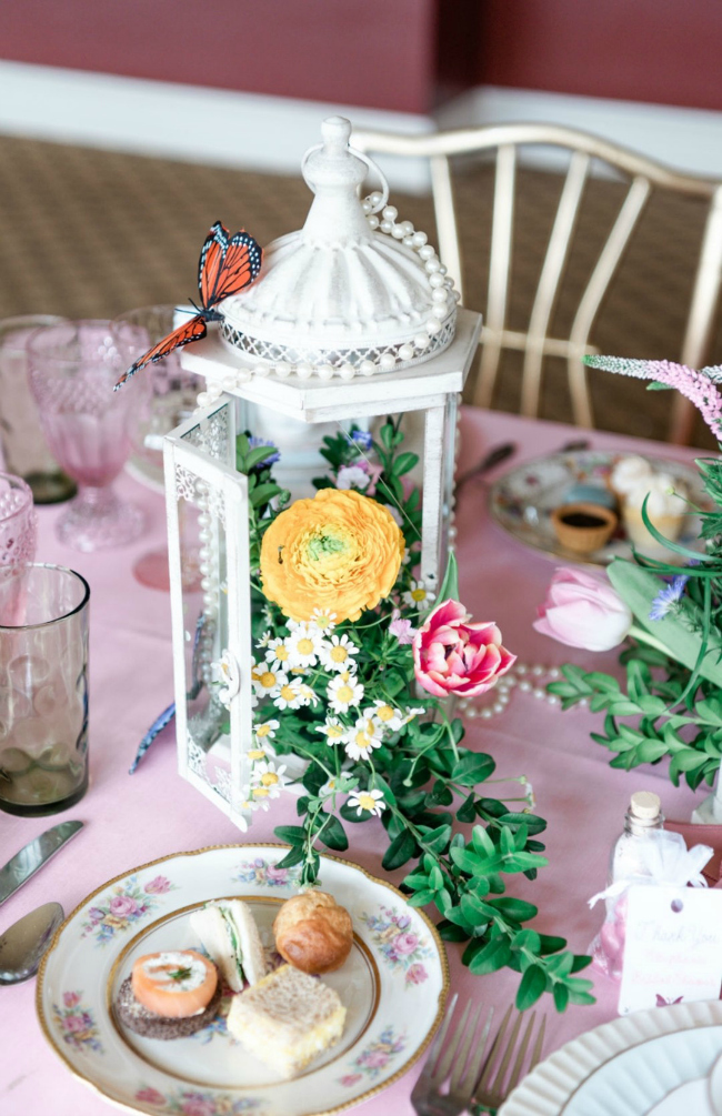 High Tea Bridal Shower Lantern and Flower Centerpiece