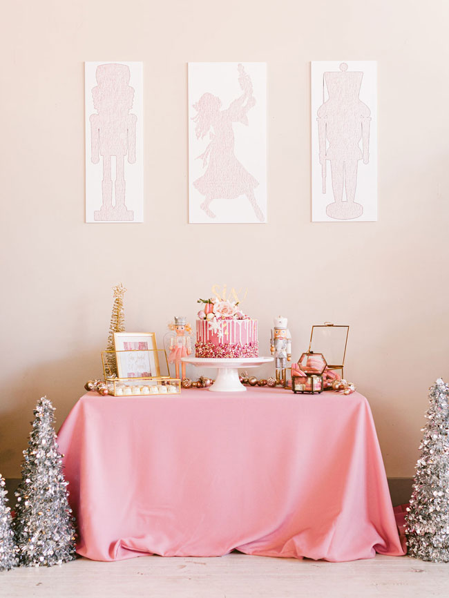 Pink Nutcracker Party Dessert Table