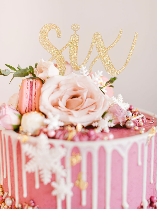 Gold Glittery Six Cake Topper