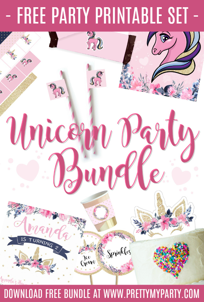Free Unicorn Party Printable Set - 14 FREE Party Printables - Pretty My Party
