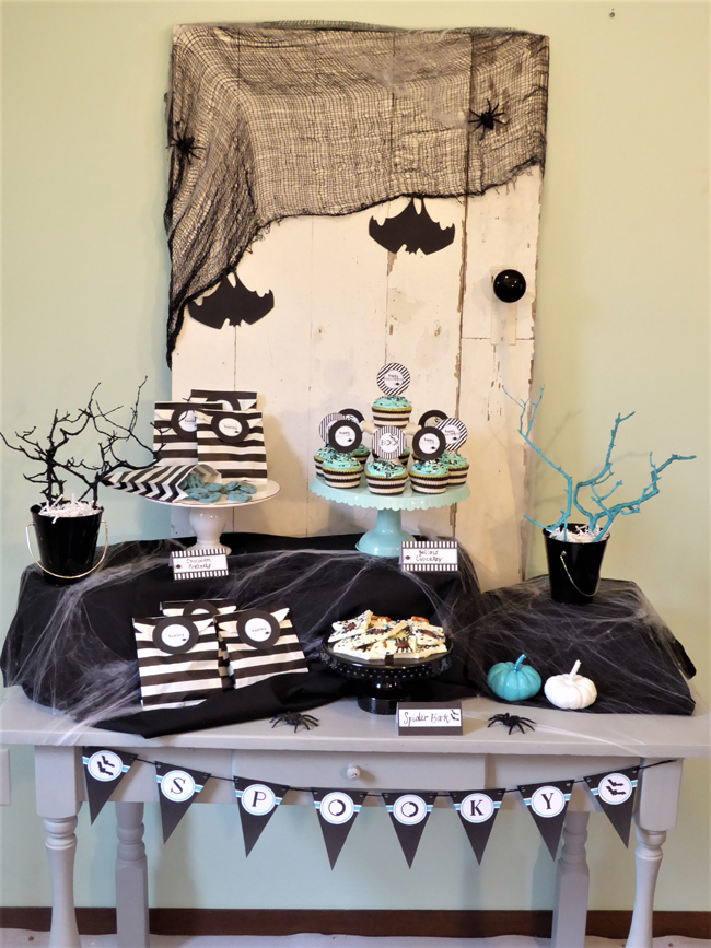 Kids Modern Halloween Party Dessert Table