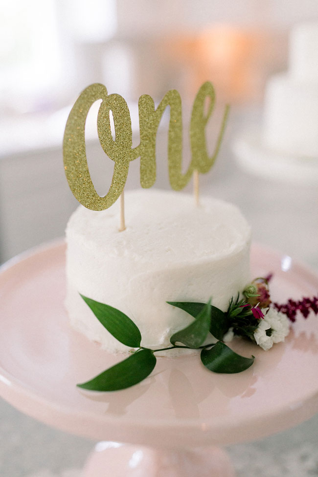 Floral Themed First Birthday Cake Topper