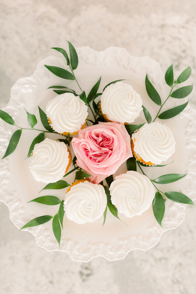 Floral Themed First Birthday Cupcakes