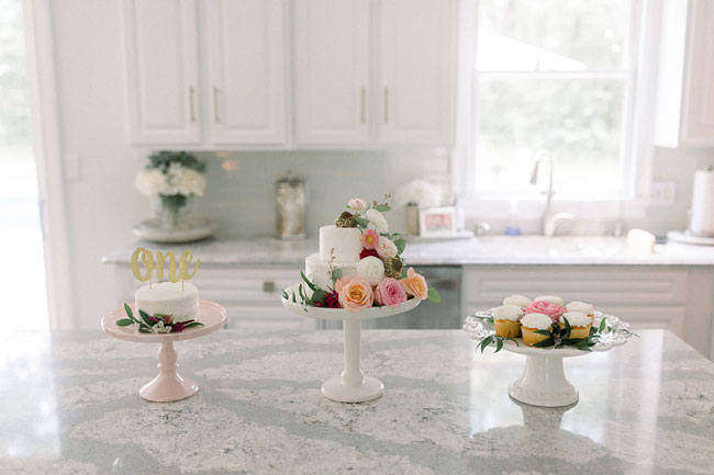 Floral Themed First Birthday Cake and Cupcakes