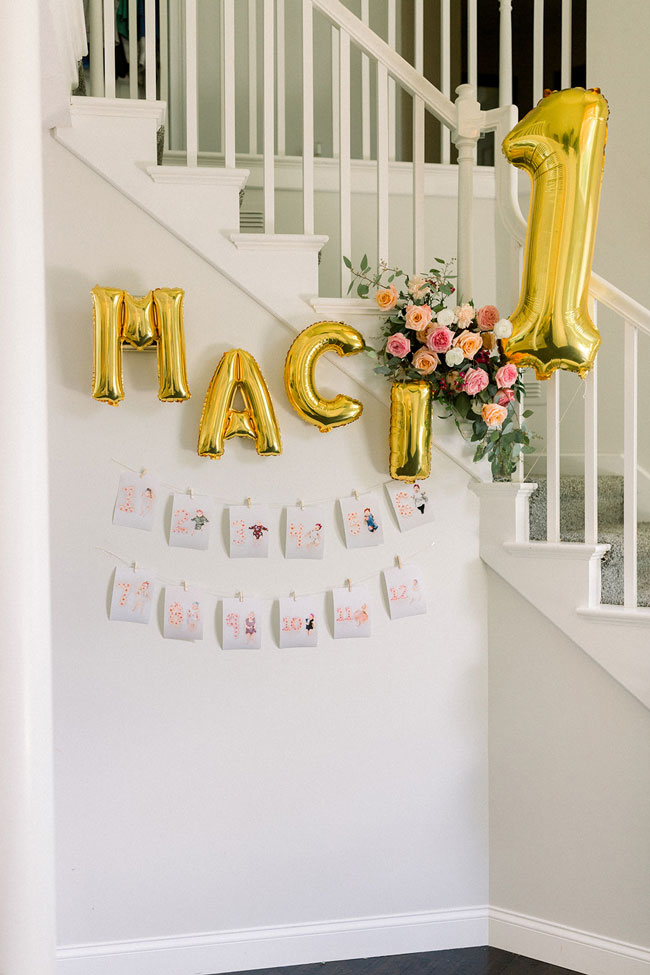 First Birthday Photo Banner and Balloons