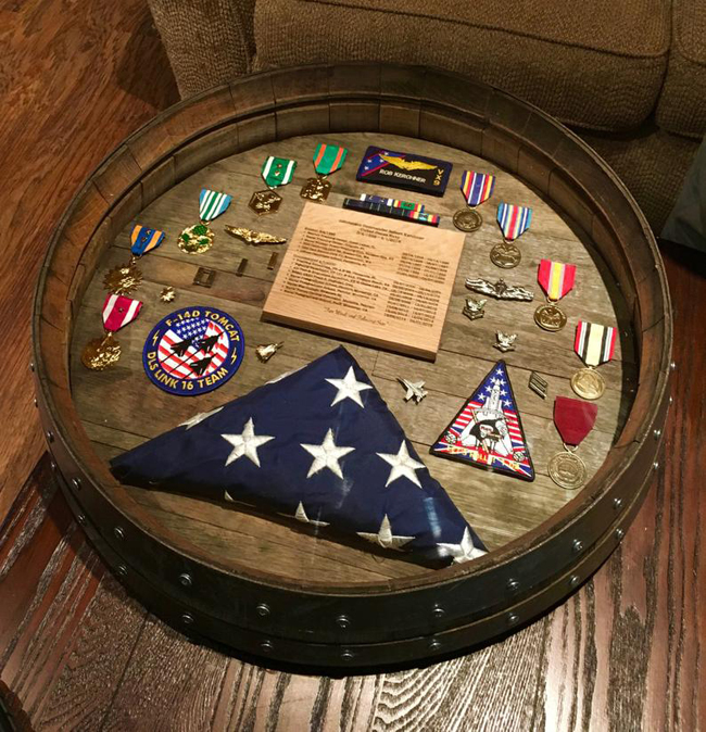 Unique Wine Barrel Military Shadow Box Idea