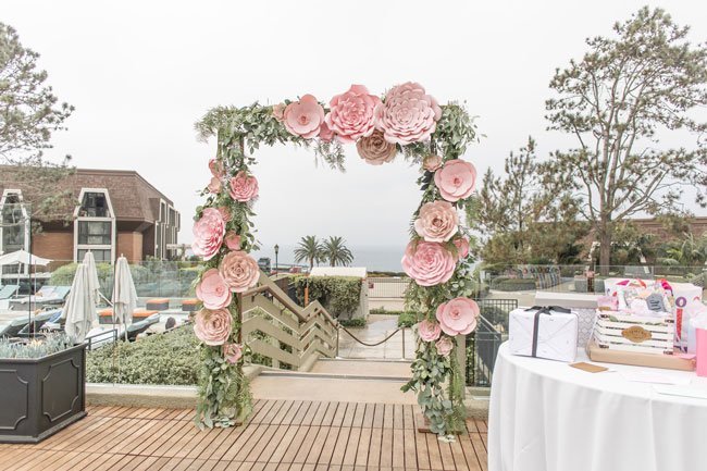 Pink Paper Flower Arch Decoration