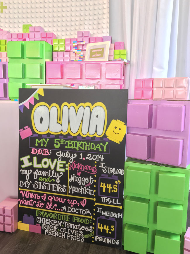 Girl Lego Party Chalkboard Sign