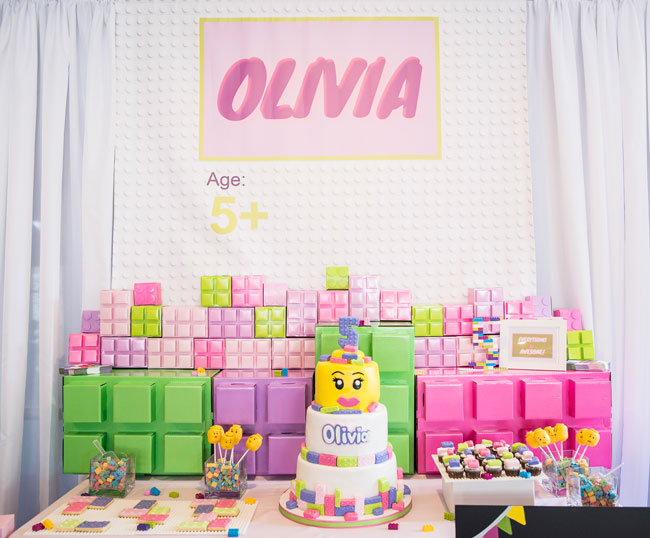 Girl Themed Lego Party Dessert Table
