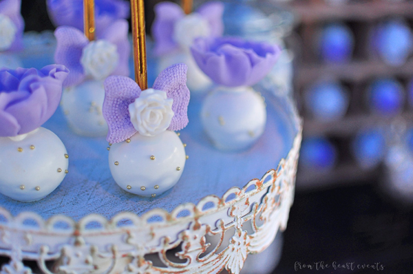 Purple and White Cake Pops