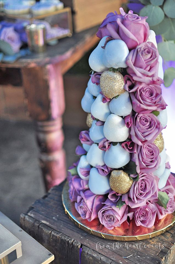 Dessert Tower With Purple Flowers