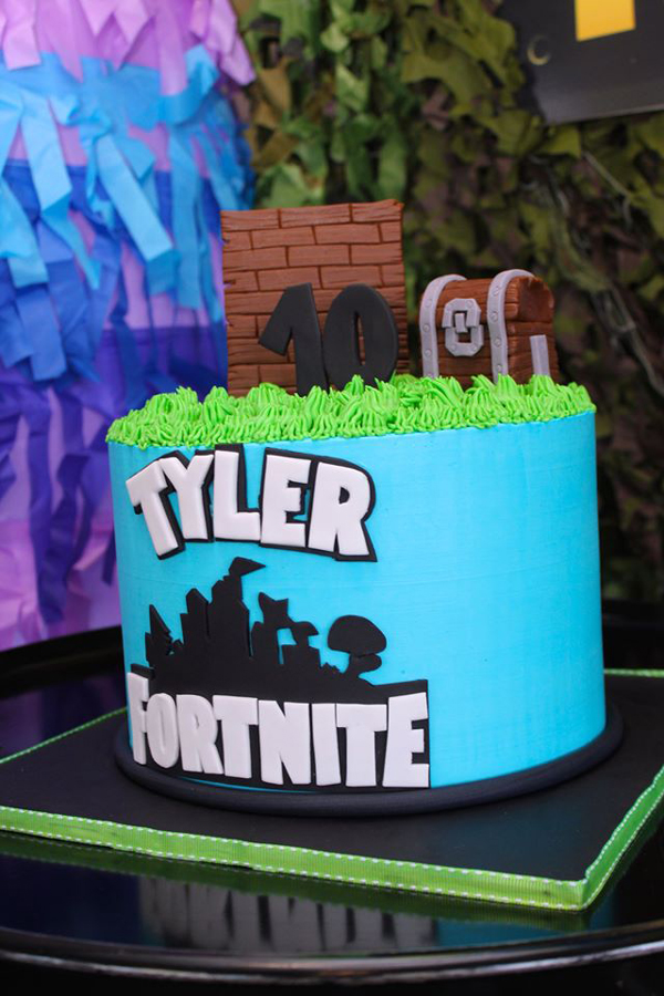 Blue Fortnite Birthday Cake
