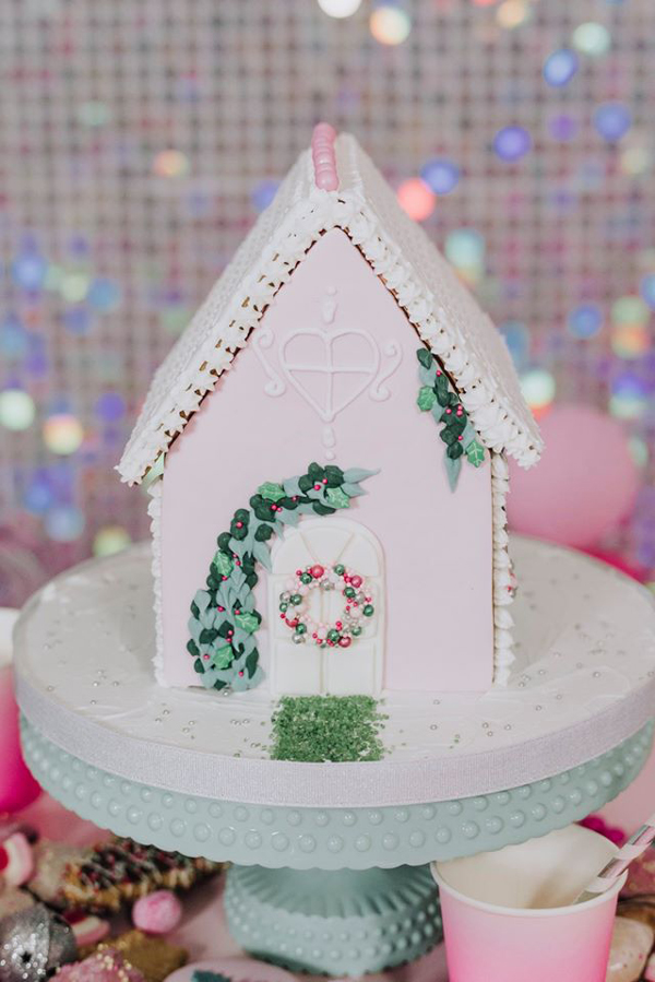 Pink and White Gingerbread House