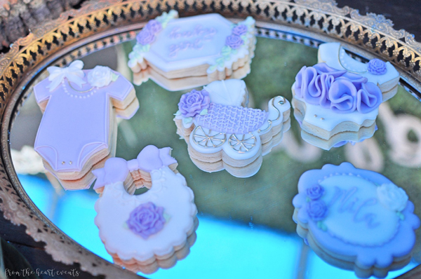 Purple and White Baby Shower Cookies