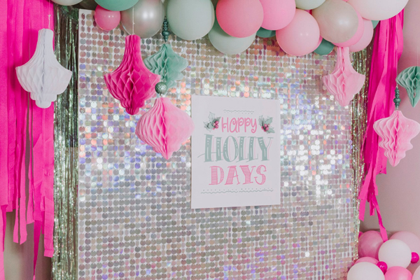 Pastel Holiday Party Backdrop