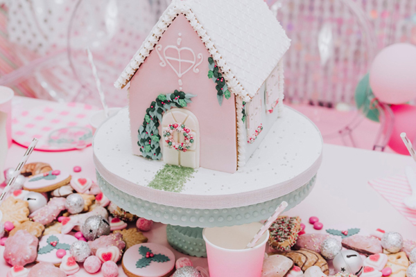Pink and White Gingerbread House Table Centerpiece