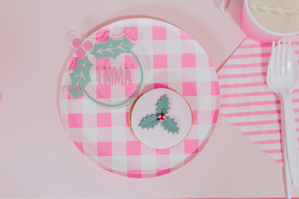Pink Holiday Party Place Setting