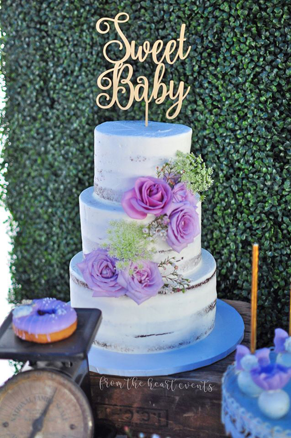 Baby Shower Cake With Purple Flowers and Gold Sweet Baby Cake Topper