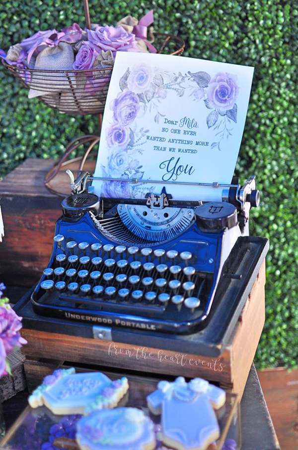 Vintage Typewriter and Baby Shower Printable Letter