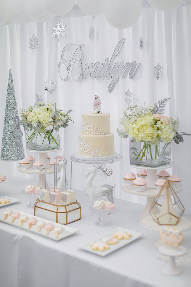 Winter Wonderland Themed Dessert Table