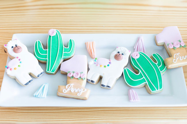 Llama, Cactus and One Cookies For 1st Birthday Party