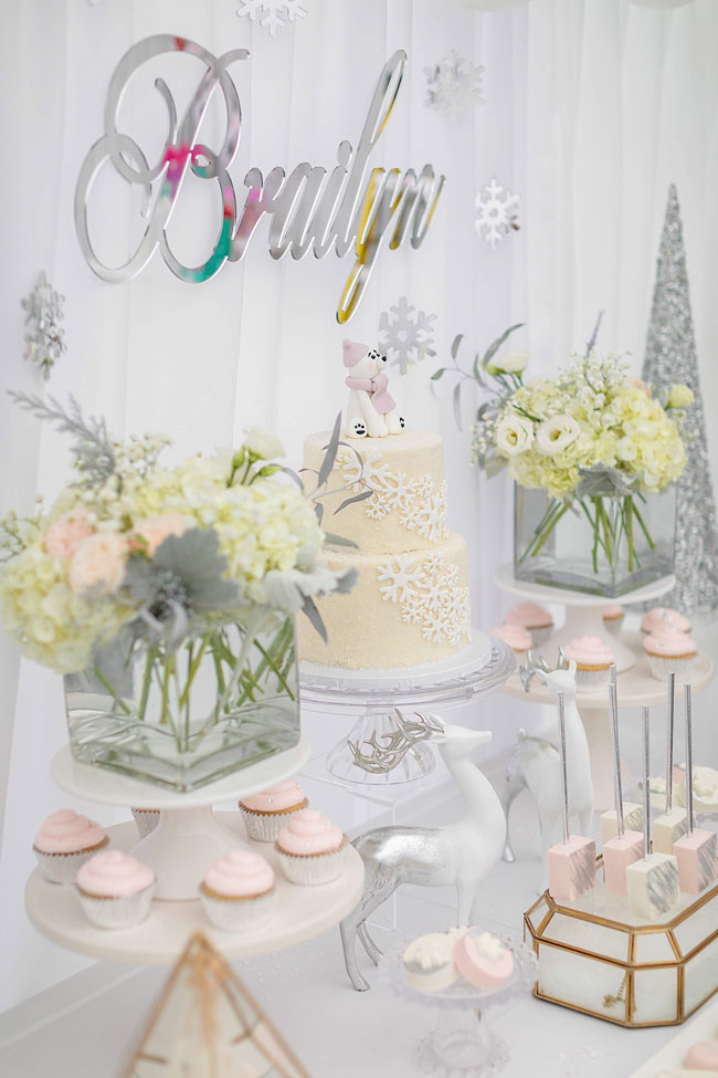 Girls Winter ONEderland First Birthday Table Backdrop