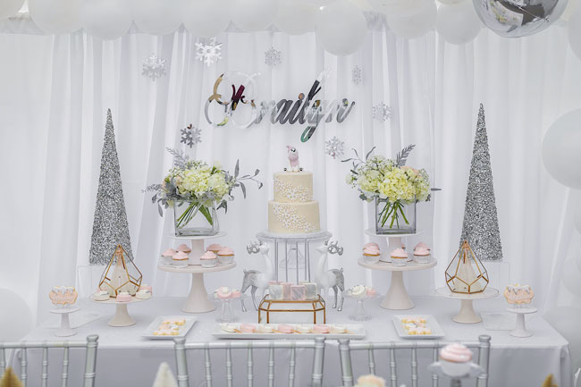 Girls Winter ONEderland First Birthday Dessert Table