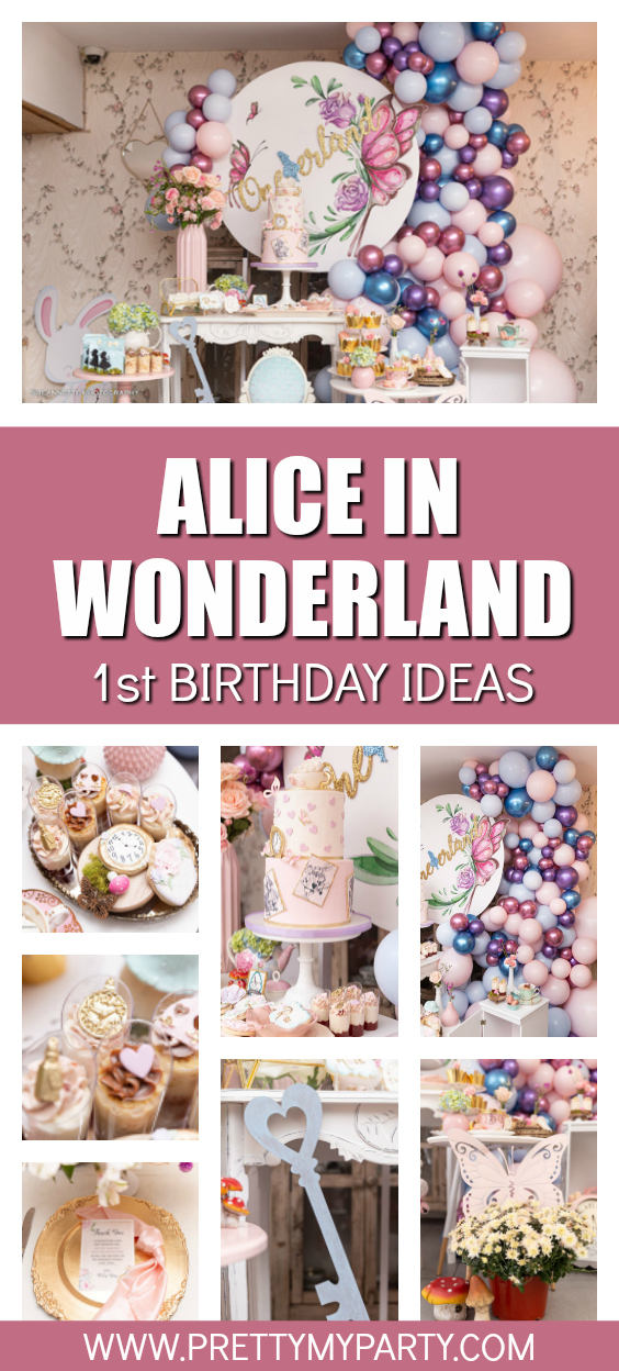 Alice In Wonderland 1st Birthday on Pretty My Party