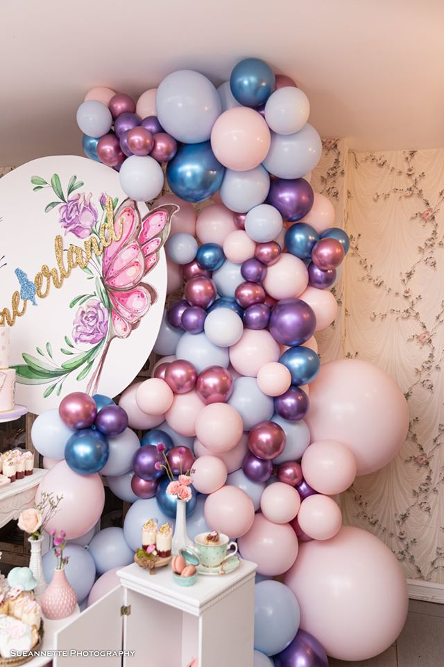 Purple, Pink and Blue Balloon Garland