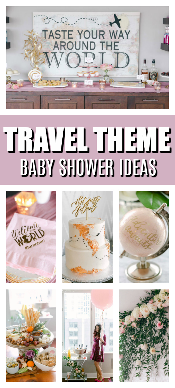 Around the World Travel Theme Baby Shower on Pretty My Party