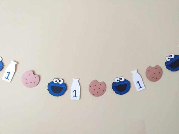 Cookie Monster Cookies and Milk Banner