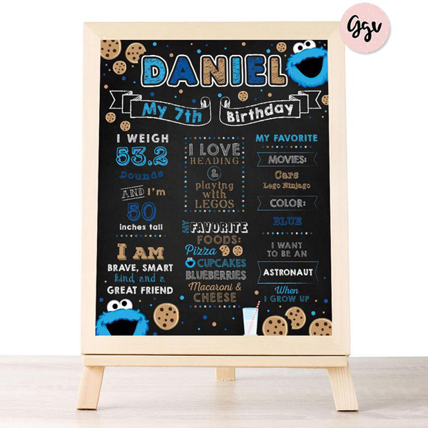 Cookie Monster 1st Birthday Chalkboard Poster