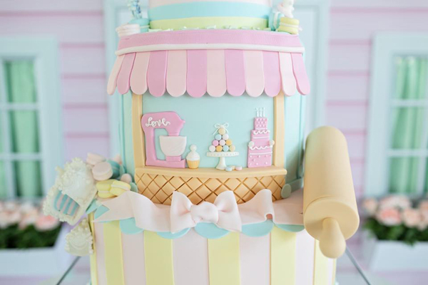 Pastel Dollhouse and Pastry Shop Birthday Cake
