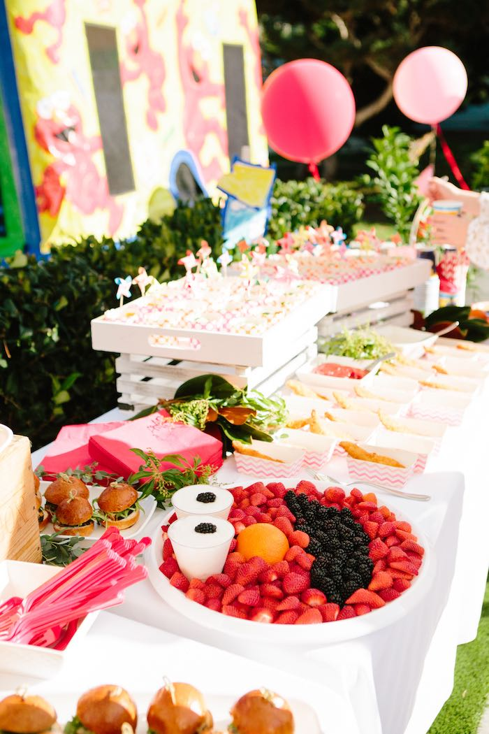 Elmo Fruit Tray and Party Food