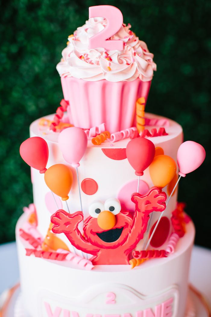 Red and PInk Elmo Cake For Girls