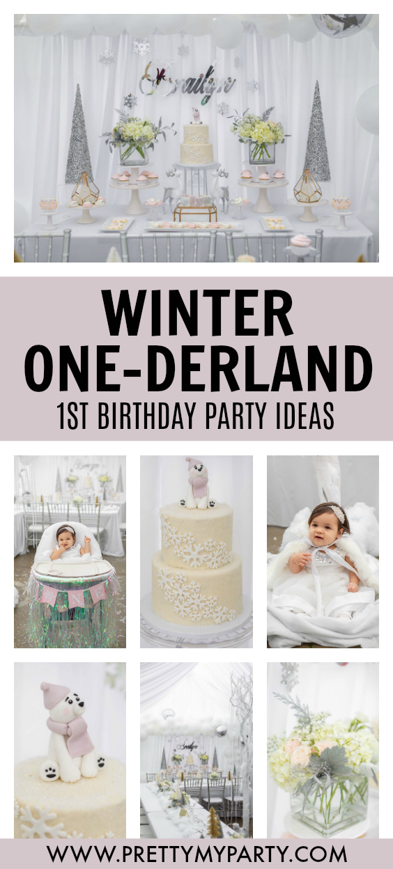 Girls Winter ONEderland First Birthday on Pretty My Party