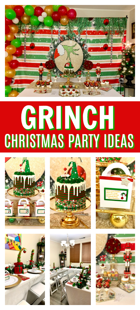 Grinch Themed Christmas Party on Pretty My Party