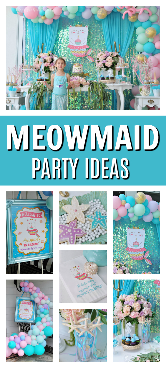 Sparkly Meowmaid Birthday Party on Pretty My Party