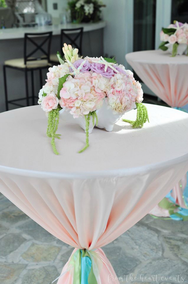 Pastel Flower Centerpiece With Starfish Decor