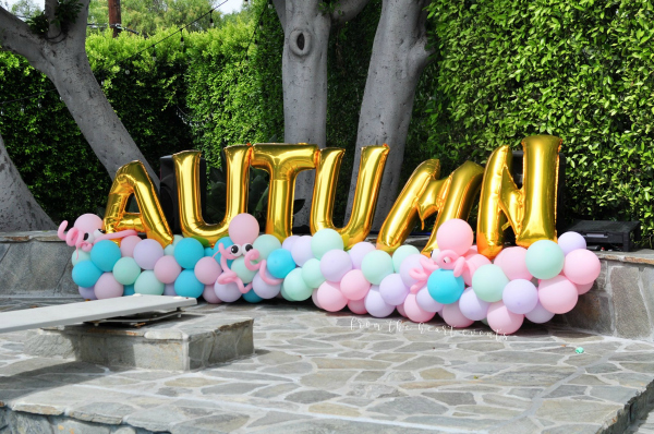 Gold Foil Name Balloons and Pastel Balloon Garland