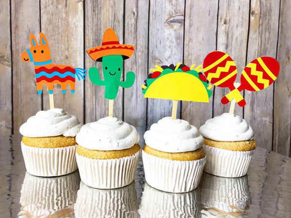 Mexican Themed 1st Birthday Cupcake Toppers